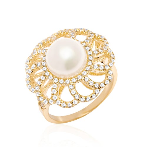 Yellow Gold Filled Natural Shell Pearl Flower Rin