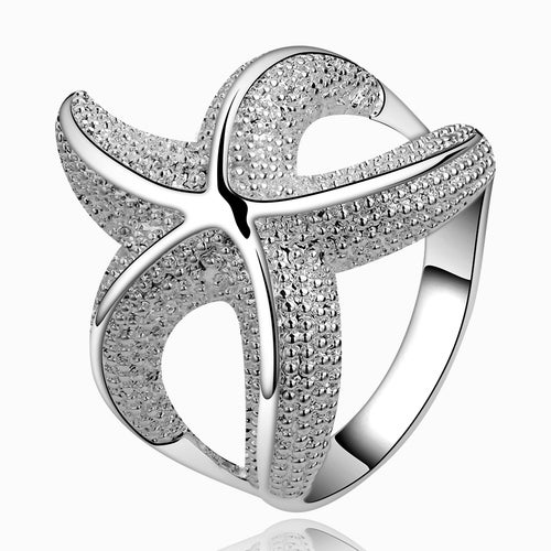 Luxury Starfish Ring Silver Plated Wedding Bands Engagement Gift Fashion Jewelry Sets For Women Lady R538-8