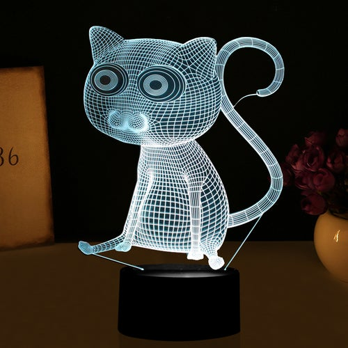 Enjoyable 3D Abstract Big Eyes Cat Night Lights LED Table Lamp as Home Decorations