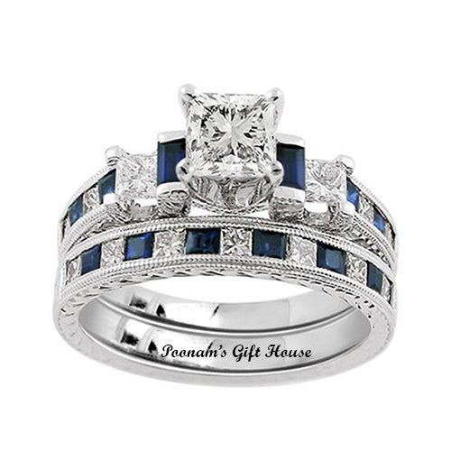 2.66 Carat Blue/Clear CZ Engagement Ring & Wedding Band Set