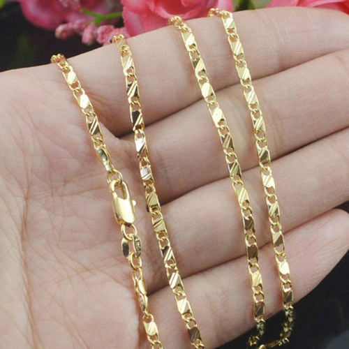 8 Sizes Available Gold Slim Necklace Chain