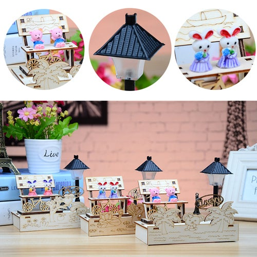1Pcs Creative DIY Animals Nightlights Wooden Seats Home Decoration Gifts