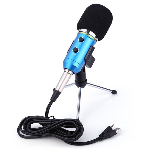 MK-F200FL 3.5mm Audio Cable With Sound Recording Microphone Condenser With Clip Mount Shock Mount