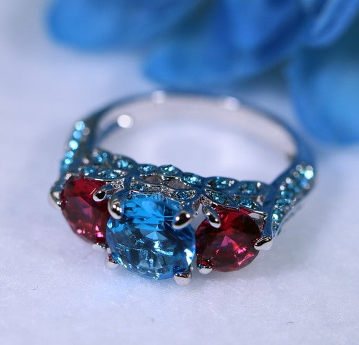 Three Stone Blue and Red CZ Women Engagement Wedding Ring #541