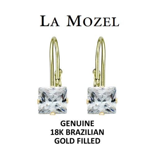 Handcrafted 18K Brazilian Gold Filled Leverback Princess Cut Earrings