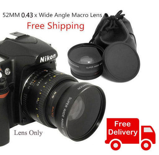 FREE Shipping 52MM x 0.43MM Wide Angle Macro Lens compatible for Canon, Nikon Cameras
