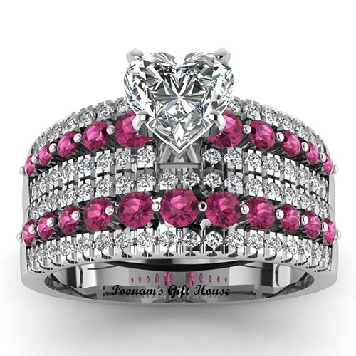 Heart Shaped CZ with Triple Row Wedding Sets Ring