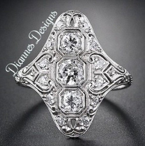 Vintage Inspired 3.25 Carat Ring 24x20mm By Diannes Designs