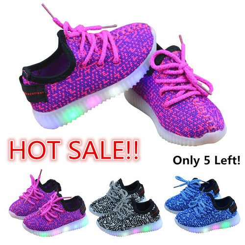 Kids Child Boys Girls LED Light Up Trainers Knitted Sneakers Shoes Size US 3-9.5