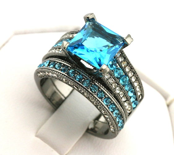 Luxury Black Gold Plated Blue CZ Women Wedding Ring Set #706