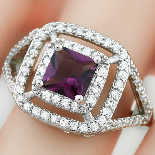 1.78ctw 14k White Gold Filled, Beautifully Created Fine Amethyst & White Sapphire Ring