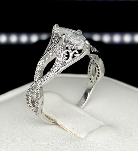 Brilliant marquise cut white gold filled