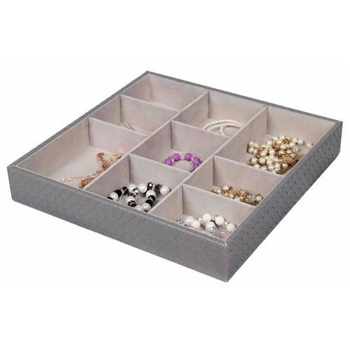 Home Basics DR49344 9 Compartment Jewelry Accessory Tray, Gray