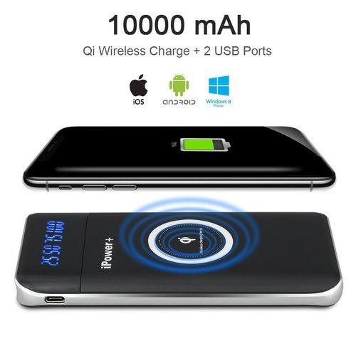 Portable Power Bank 10000mAh Qi Wireless Charger 3 in 1 External Battery Pack for Qi Enabled Smartphones(iPhone 8, 8 Plus, iPhone X , Samsung Galaxy Note 8, GS8, S7/S6/S8/Edge)