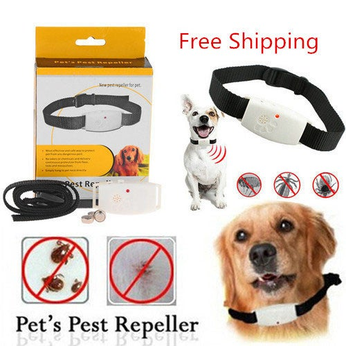 Free Shipping Dog Collar Pest Repeller – Deters Pests Mosquitos Ticks and Fleas with Ultrasonic LED Indicator