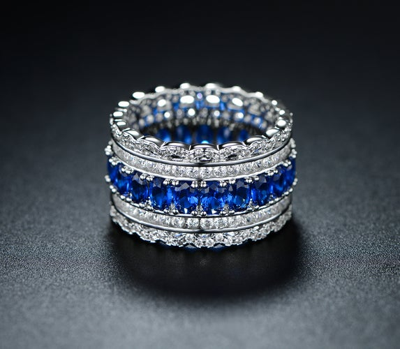 White Rhodium Plated Blue Spinel & Cubic Zirconia Wide Band Cocktail Ring