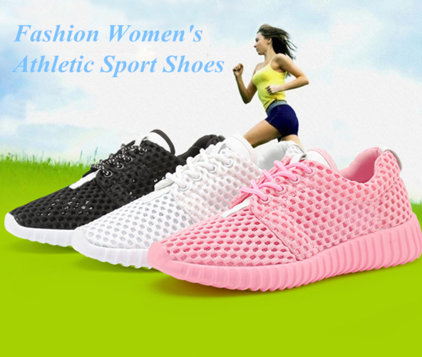 Fashion Women's Athletic Sport Shoes Lace Up Running Falts Mesh Comfort Trainers