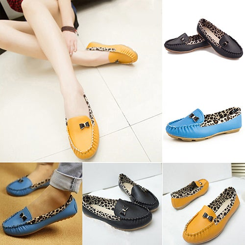 Women Faux Leather Flat Heel Casual Leopard Pattern Loafer Round Toe Boat Shoes