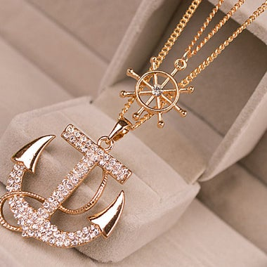 Fashion ship's anchor Necklace Double-deck Necklace
