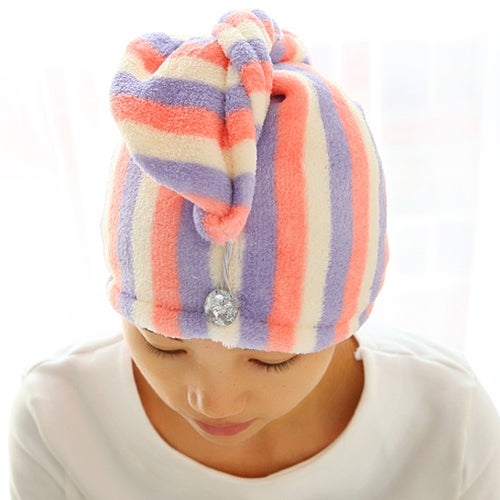 Home Textile Useful Dry Hair Hat Microfiber Hair Turban Quickly Dry Hair Hat Wrapped Towel Bathing Cap