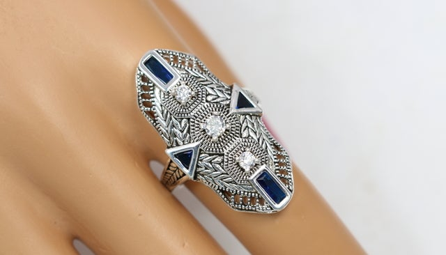 2018 collection has arrived!!!!! Art-Deco style ring. Absolutely gorgeous ring with lot's of details and superior quality of stones. 3x Certified Platinum plated. Rich look and attention to the details. Perfect blend of 5AAAAA Level Italian zircon. Extra