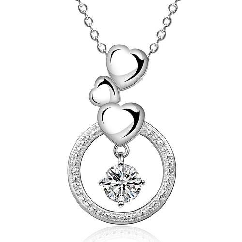 18kt White Gold Plated Heart Love Forever Necklace