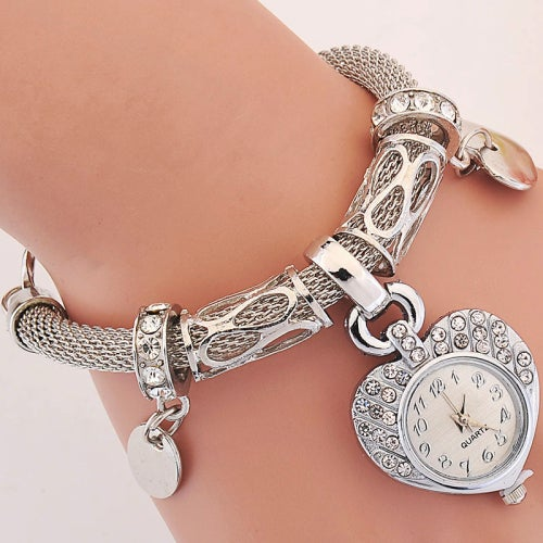 Ladies Love Heart-shape Dial Watch Silver Women Female Gift Dress Luxury Wrist Watch