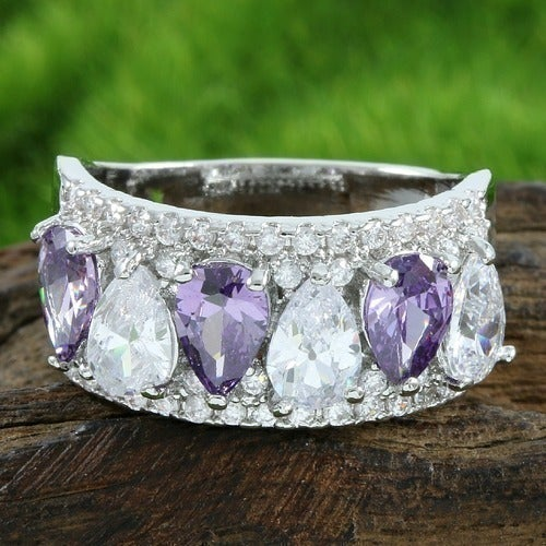 14k White Gold Filled, Beautifully Created Fine Amethyst & White Sapphire Ring SM7381