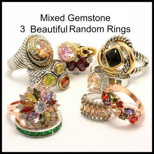 14k Gold Filled Mixed Gemstone Wholesale Lot of 3 Random Rings