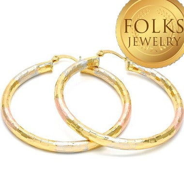Believe Multi Color Hollow Style and Diamond Etched 14K Gold Filled Womens Hoop