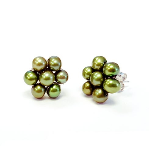 Genuine Green Freshwater Flower Shape Earrings