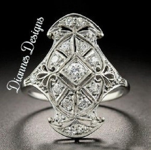 Vintage Inspired 2.25 Carat Ring 26x20mm By Diannes Designs