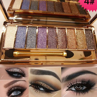 Professional Eye Makeup 9 Colors Eyeshadow Palette Gold Smoky Cosmetics Makeup P