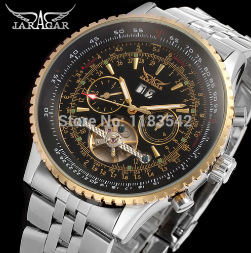 Automatic wristwatch silver watch with stainless steel band for men