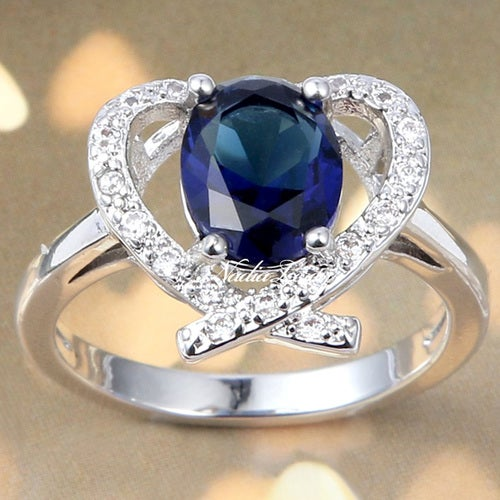 Beautiful Sapphire & White Topaze Sterling Silver 925 Ring