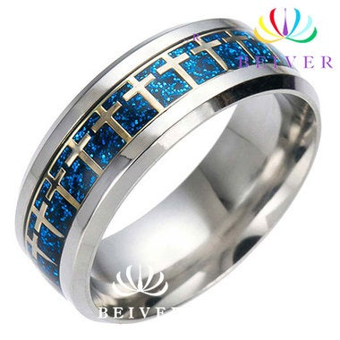 Titanium Steel Cross Blue-Gold Ring Unisex