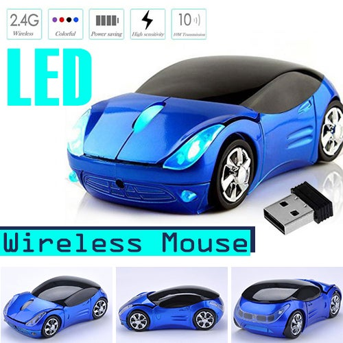 New Mini 2.4Ghz 800DPI 10m Wireless Car Shape Colorful USB Optical Mouse Mice For PC Laptop Notebook Home Use