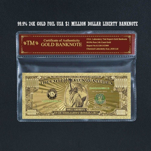 Limited 99.9% 24k Gold Foil Polymer Collectors US $1,000,000 with Certificate of Authenticity