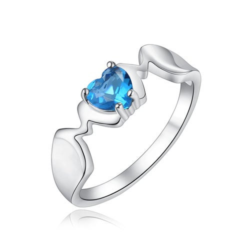 "Created Blue Topaz ""MOM"" Ring Rhodium Plated Brass"