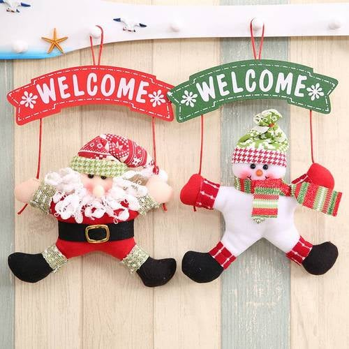 Hoomall Santa Claus Welcole Doorplate Christmas Decorations For Home Hanging Christmas Ornament New Year Gift Navidad Party DIY