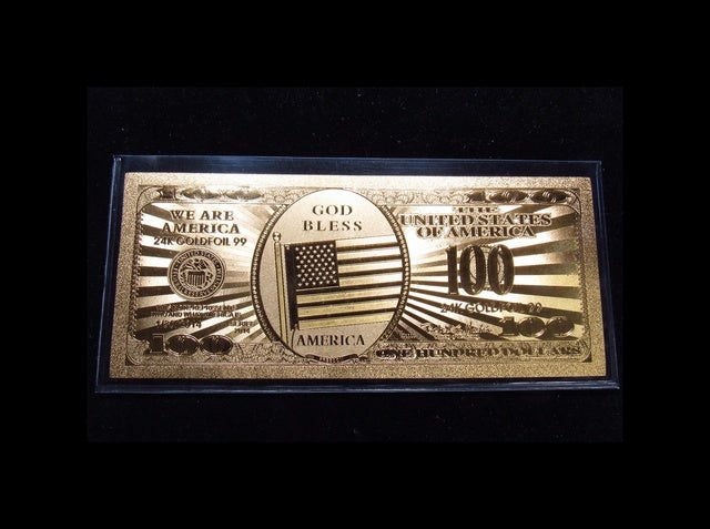 ★ 24K ★ $100 Design Gold Foil Pressed on Poly-Carbonate Replica Banknote with American Flag