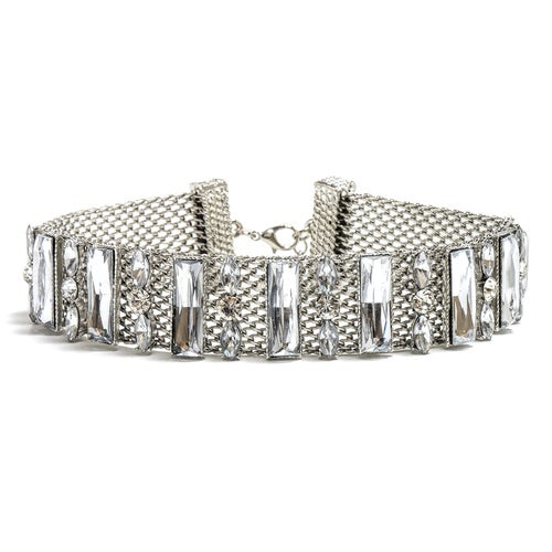 18K White Gold ptd Mesh Choker Necklace wClear Marquise & Baguette Austrian Crystals