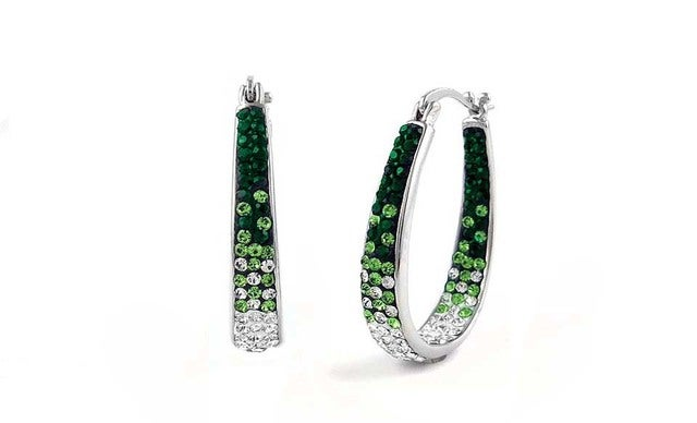 18Kt White Gold Plated Austrian Crystal Green Ombre Inside Outside Hoop