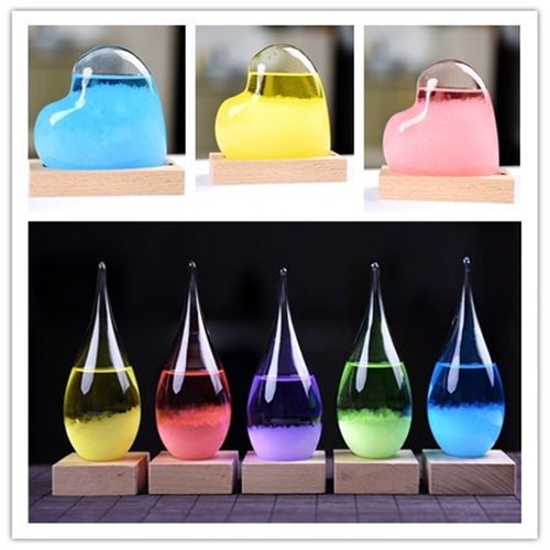 Crystal bottle can predict the weather Storm Glass The Weather Forecast Bottle with Base Crystal Vintage Vase Craft Gift Funny Lover Gifts Home Decoration Accessories