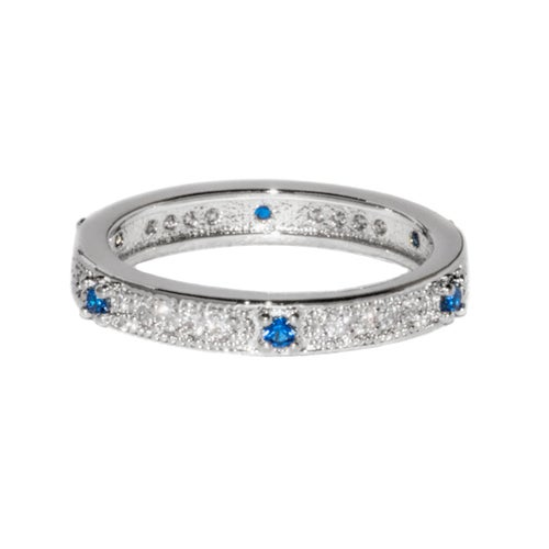 White Gold Filled Blue Sapphire CZ Band