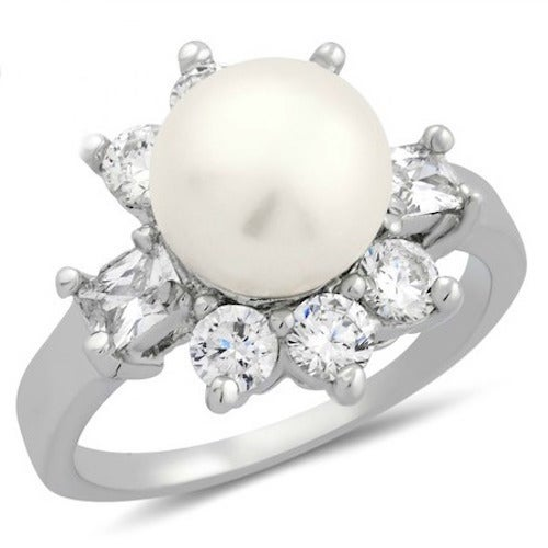 14k White Gold Filled, Beautifully Created Fresh Water Pearl and White Sapphire Ring