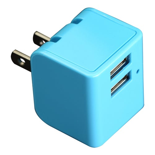 12W Dual USB wall AC Travel charger Adapter with foldable wall prong - Blue