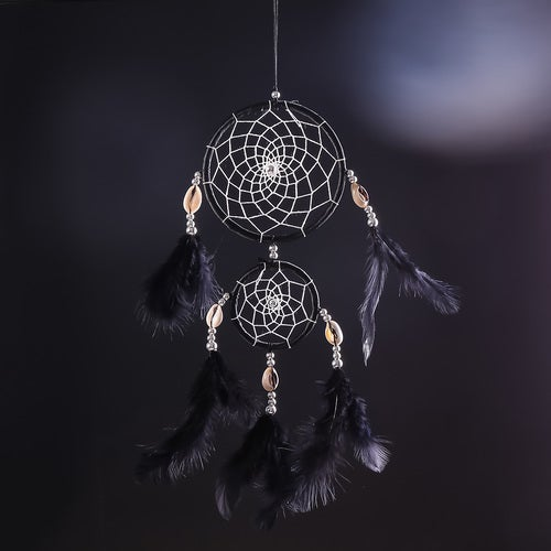 Home Car Black Mysterious Dream Catcher Circular With Feather Wall Hanging Decoration Gift