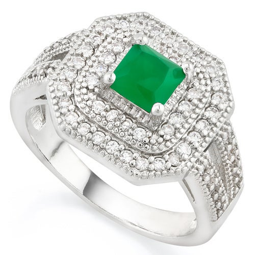 14k White Gold Filled Beautifully Created 0.85ctw Emerald and White Sapphire Ring