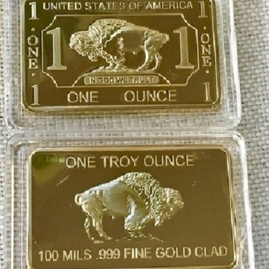 1 oz 24K Gold Clad Buffalo Bar
